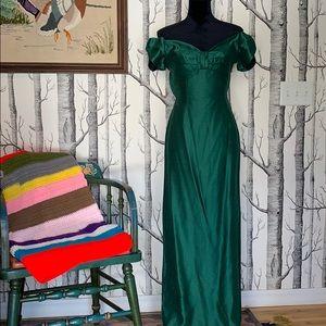 Vintage Emerald Green Strapless Bow Silk Gown